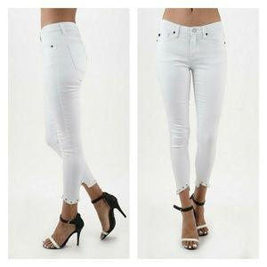 Denim - White skinny ankle jeans, embellished frayed hem